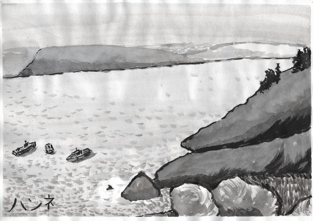 Sumi-e tyylillä maalattu järvi